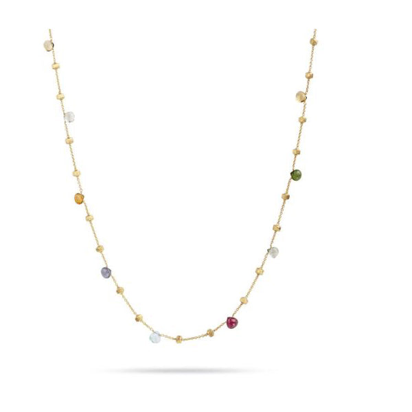 18K Paradise Colletion Yellow Gold and Mixed Stone Long  Necklace