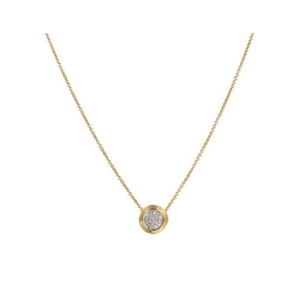 18K Delicati Yellow Gold and Diamond Pave Bead Pendant