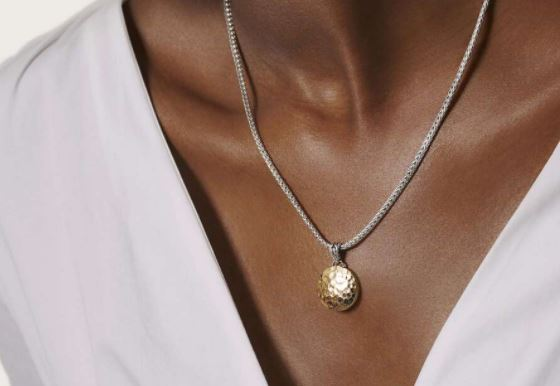 Dot Hammered Pendant Necklace