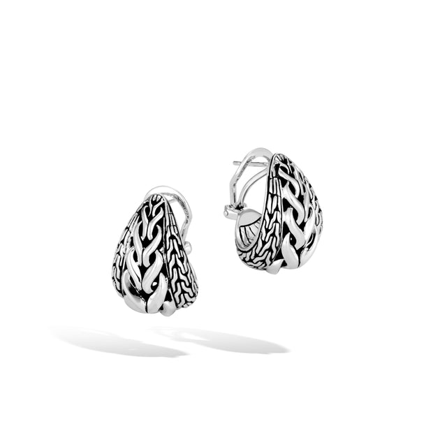 Asli Classic Chain Link Buddha Belly Earrings in Silver