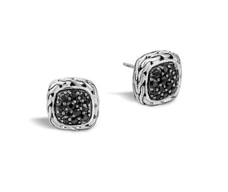Classic Chain Silver Lava 12mm Square Stud Earrings