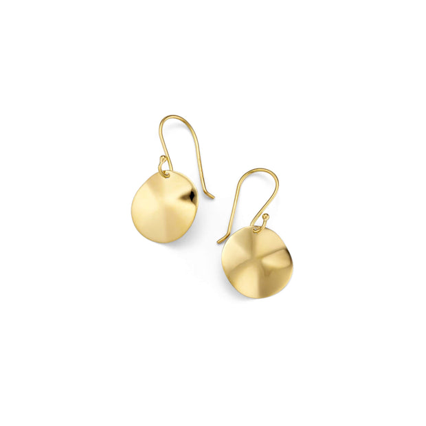 18K Classico Mini Wavy Disc Earrings