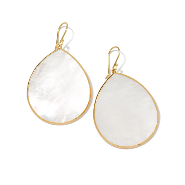 18K Polished Rock Candy Large Teardrop Earrings in Mother-of-Pearl