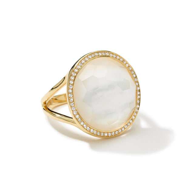 18K Lollipop® Ring in Mother-of-Pearl Doublet with Diamonds (.26 ctw)