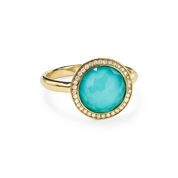 18K Lollipop® Mini Ring in Rock Crystal over Turquoise with Diamond Pavé (.18ctw)