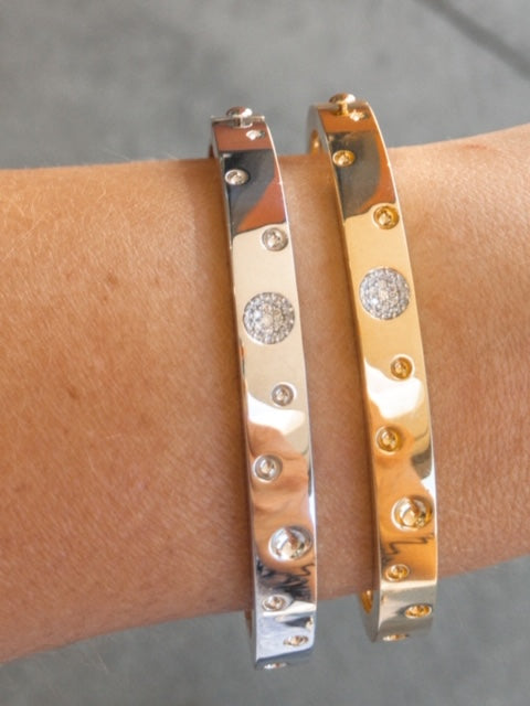 18K GOLD & DIA ACCENT POIS MOI LUNA THIN BANGLE