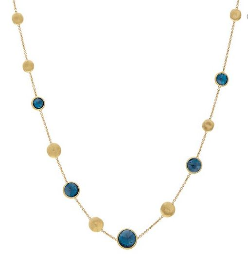 Jaipur Color 18K Yellow Gold & London Blue Topaz Station Necklace
