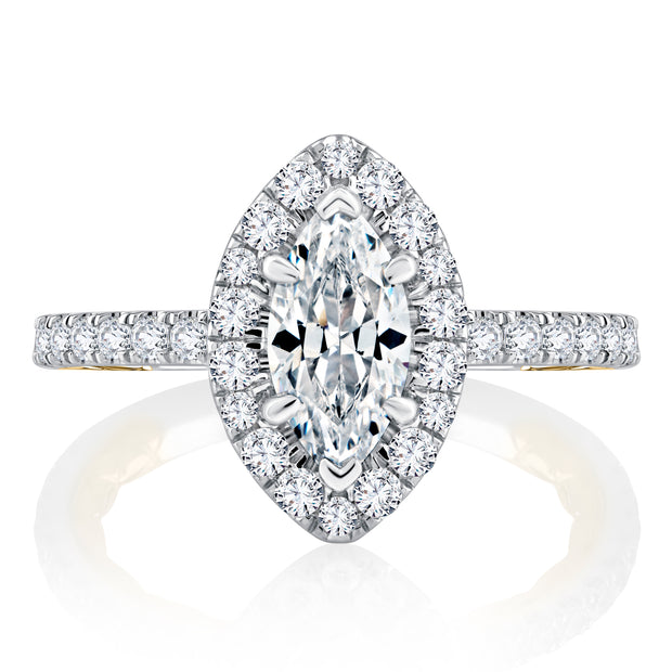 Classic Two Tone Halo Marquise Cut Diamond Engagement Ring