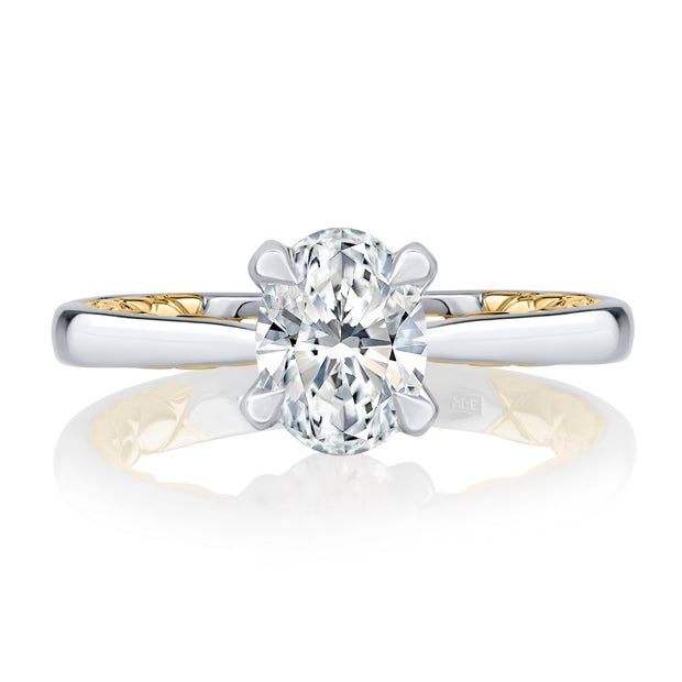 Elegant Two Tone Oval Cut Diamond Engagement Ring