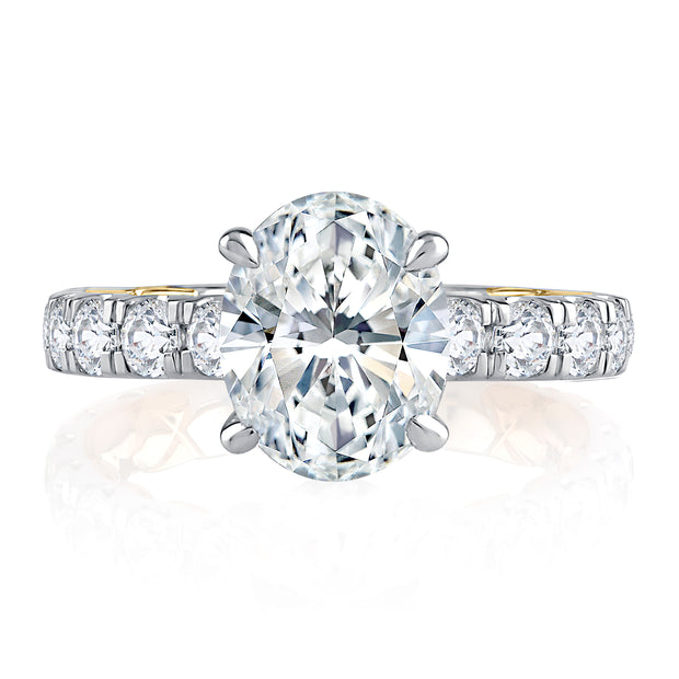 Modern Two Tone Oval Cut Diamond Engagement Ring