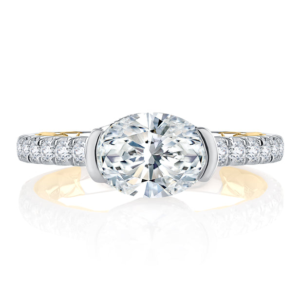 Two Tone East West Half Bezel Oval Cut Engagement Ring