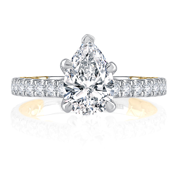 Elegant Two Tone Pear Cut Diamond Engagement Ring
