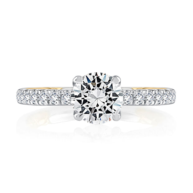 Classic Two Tone Round Cut Diamond Engagement Ring