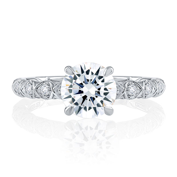 Geometric Round Cut Diamond Engagement Ring