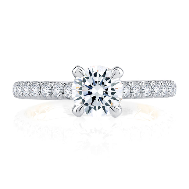 Timeless Two Tone Round Cut Diamond Engagement Ring