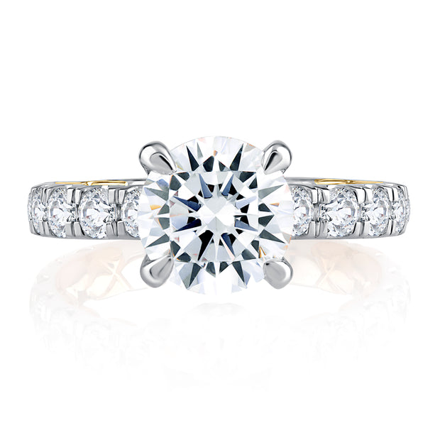 Modern Two Tone Round Cut Diamond Engagement Ring