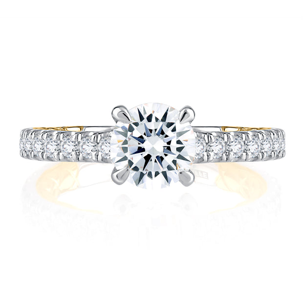 Cathedral Two Tone Round Cut Diamond Engagement Ring