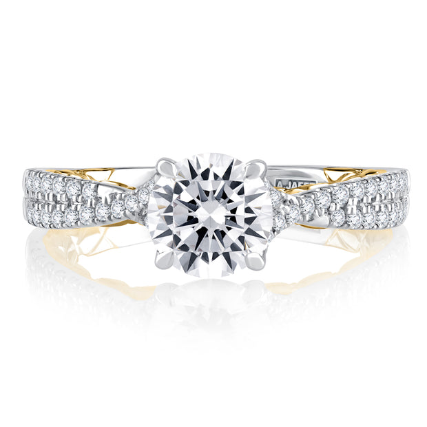 Split Shank Two Tone Round Cut Diamond Engagement Ring