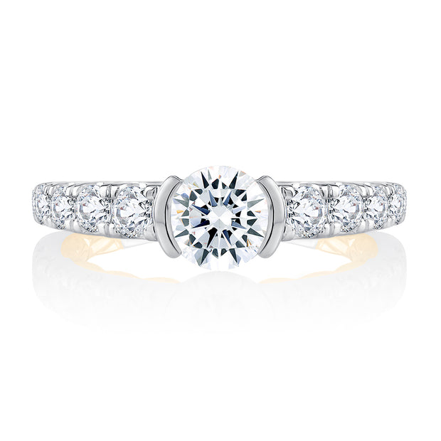 Half Bezel Two Tone Round Cut Diamond Engagement Ring
