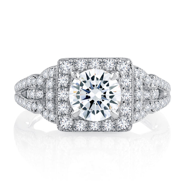 Vintage Inspired Split Shank Halo Round Cut Diamond Engagement Ring