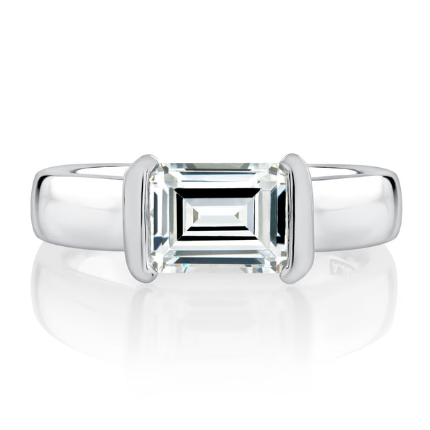 Half Bezel East West Emerald Cut Diamond Engagement Ring