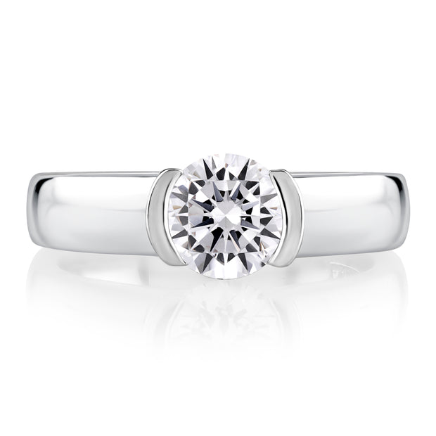 Modern Half Bezel Round Cut Diamond Engagement Ring