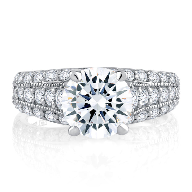 Modern Triple Row Round Cut Diamond Engagement Ring