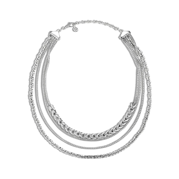Asli Classic Chain Link Multi Row Necklace in Silver