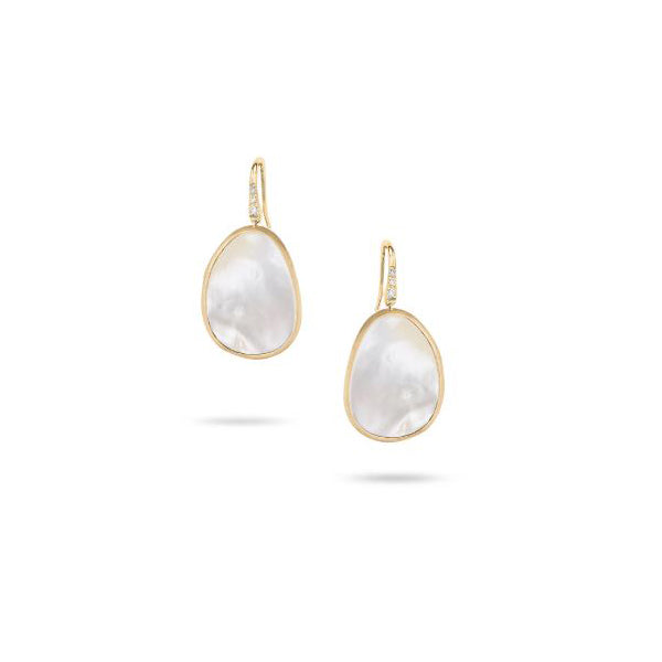 18K Lunaria Collection Yellow Gold and White Mother of Pearl Earrings
