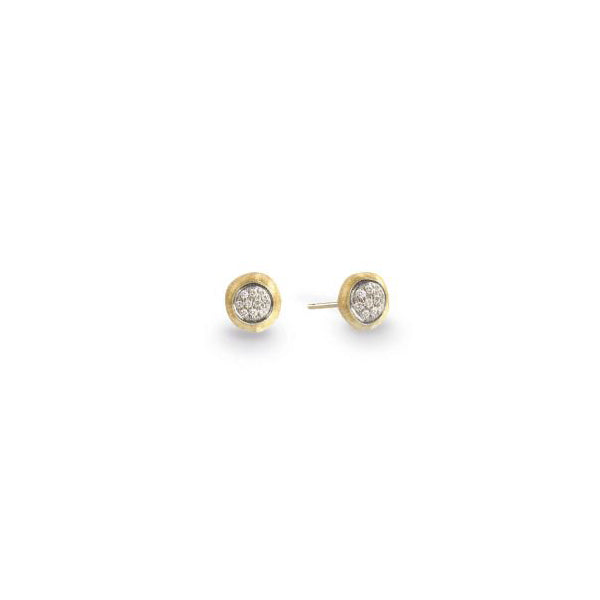 18K Delicati Yellow Gold and Diamond Pave Small Stud Earrings