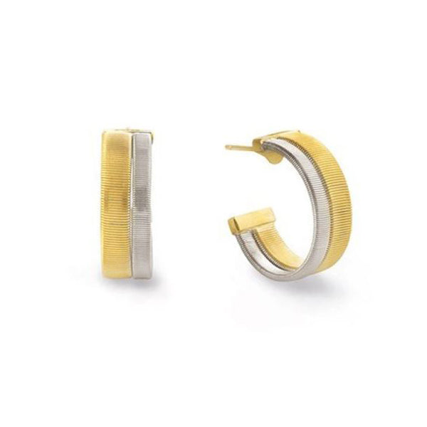 18K Yellow and White Gold Masai Collection Two Row Hoop Earrings