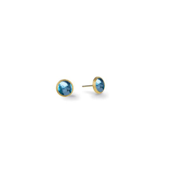 18K Jaipur Collection Yellow Gold and Blue Topaz Petite Stud Earrings