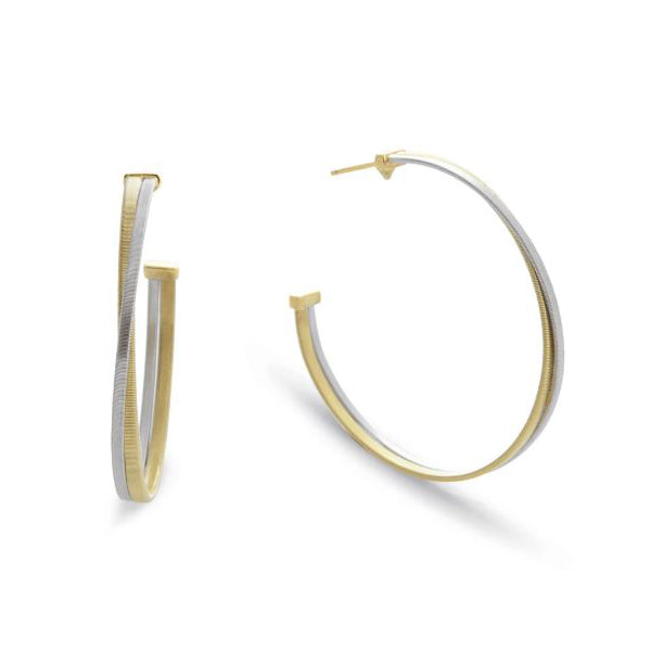 18K Masai Collection Yellow & White Gold Large Hoop Earrings