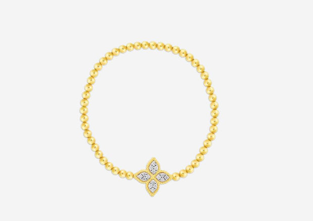 18K DIAMOND PRINCESS FLOWER BEADED BRACELET