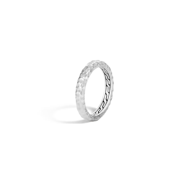 Classic Chain 3.5MM Band Ring in Hammered Silver