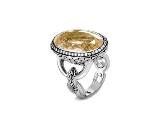 Classic Chain Knife Edge Ring, Rutilated Quartz, Diamonds