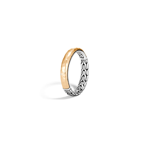 Classic Chain 3.5MM Band Ring in Silver and Hammered 18K Gold