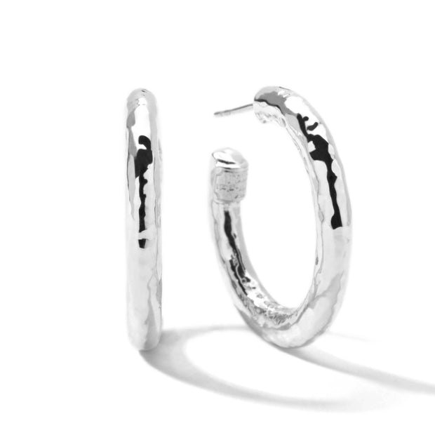 Sterling Silver Classico Small Hammered Hoop Earrings