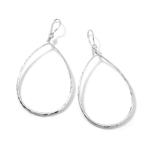 Sterling Silver Stardust Open Teardrop Earrings (.06ctw)