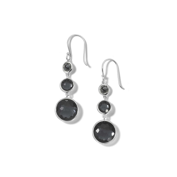 Sterling Silver Lollipop® Lollitini 3-Stone Drop Earrings in Hematite Doublets and Hematite