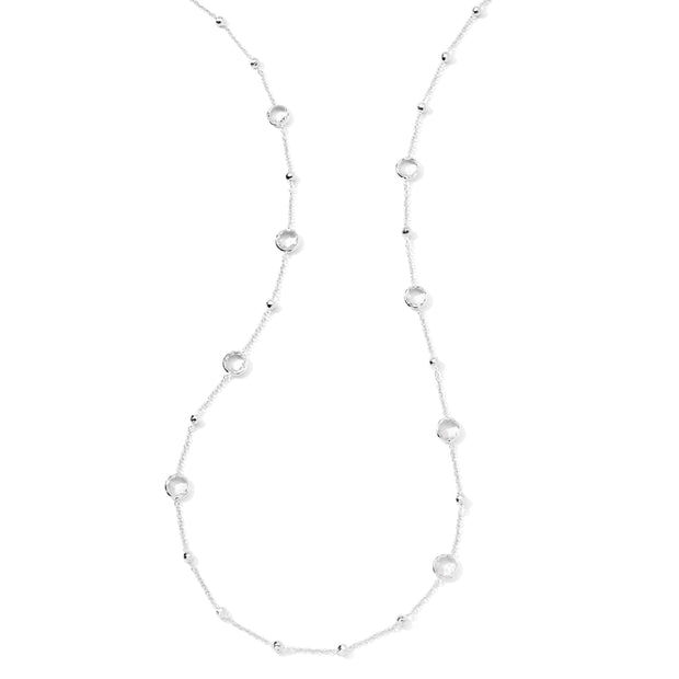 Sterling Silver Lollipop® Ball and Stone Station Necklace in Rock Crystal 38""