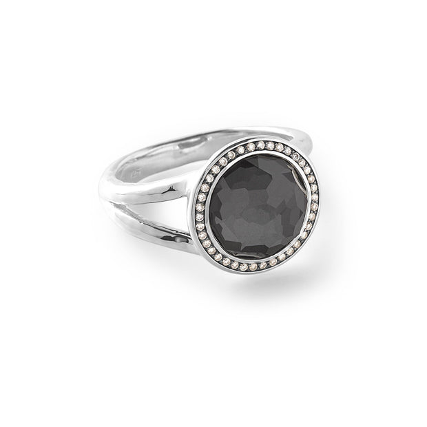 Sterling Silver Lollipop® Mini Ring in Hematite Doublet with Dia Pavé (.15 ctw)