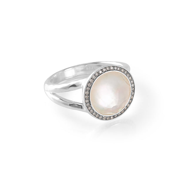 Sterling Silver Lollipop® Mini Ring in Mother-of-Pearl Doublet with Dia Pavé (.15 ctw)