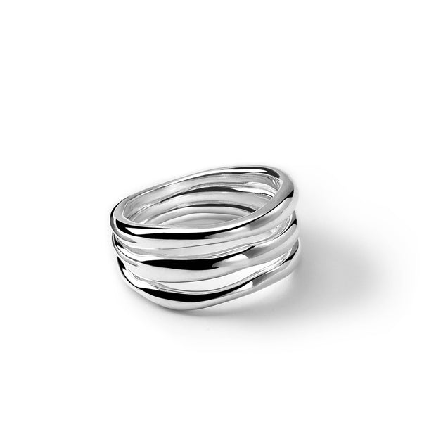 Sterling Silver Classico Triple-Band Squiggle Ring