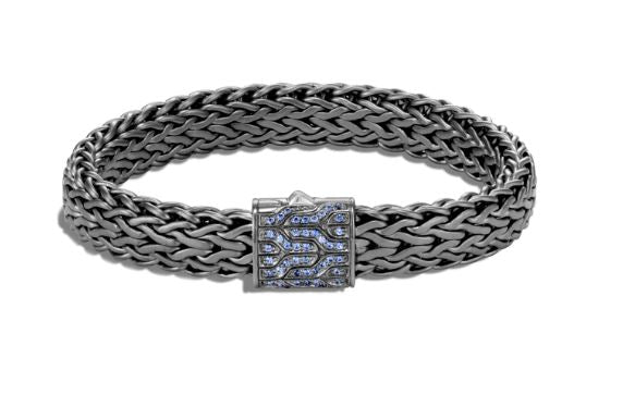 Classic Chain Black Rhodium Plated Bracelet, Blue Sapphire