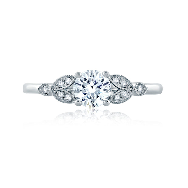 Floral Milgrain Accent Round Center Solitaire Engagement Ring
