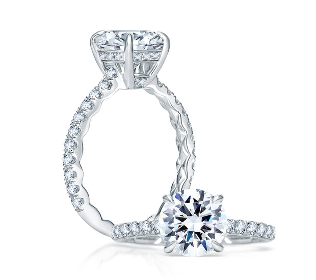 Quilted French Pave Round Diamond Center Engagement Ring
