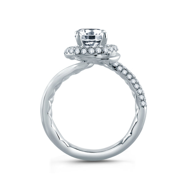 Four Prong Round Wave-Inspired Half Pave  Engagement Ring