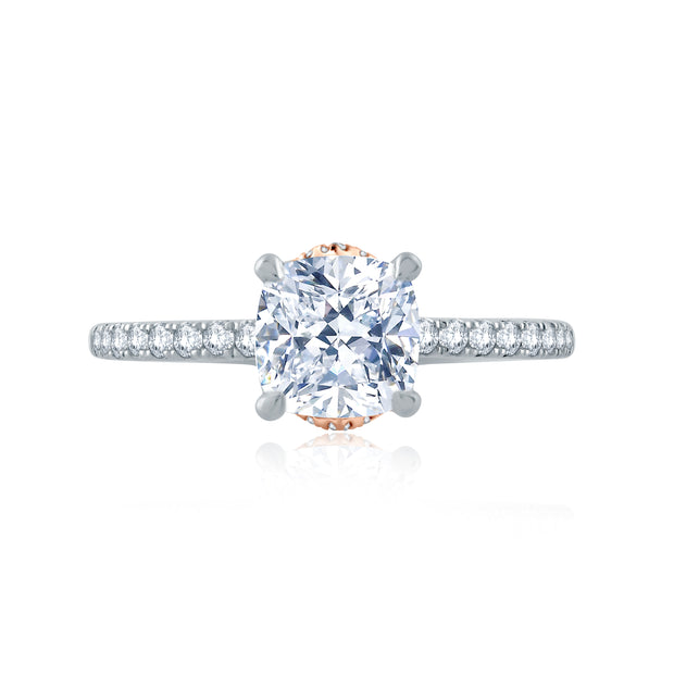 Delicate Cushion Solitaire with Belted Gallery Detail
