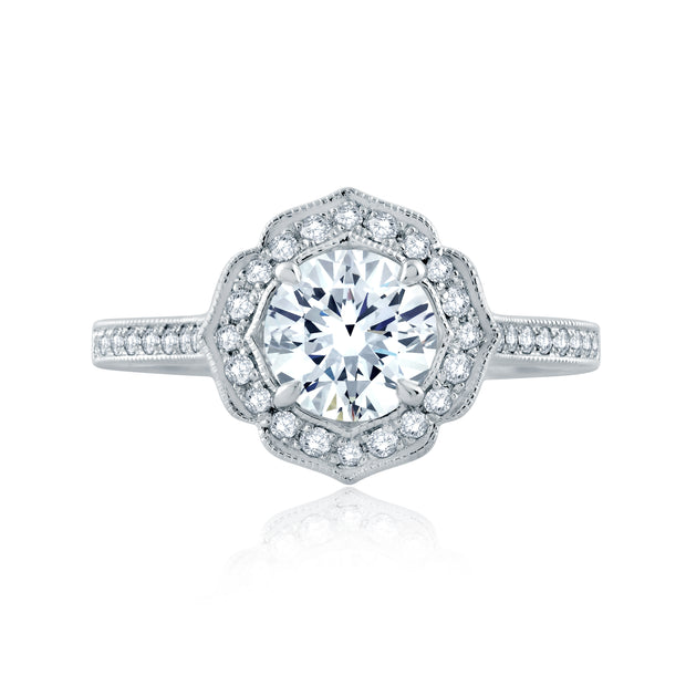 Floral Inspired Milgrian Detail Halo Round Engagement Ring